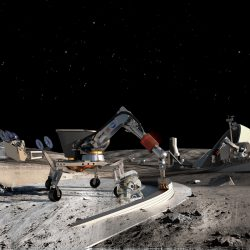 Artist rendition of construction of the moon. (Photo courtesy of NASA)