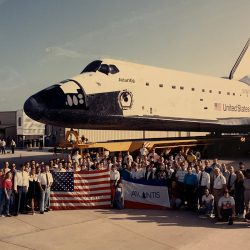 Shuttle Atlantis with space workers