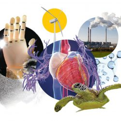 collage of windmill, heart, bionic hand, and smoke stacks