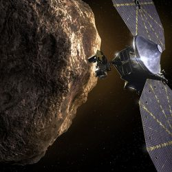 Artist rendering of what Lucy may look like the it arrives at the Trojan asteroids. Courtesy of NASA.