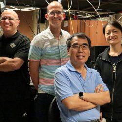 from left to right) CREOL Professor Luca Argenti, Physics Associate Professor Michael Chini, CREOL Professor Zenghu Chang and Physics Assistant Professor Li Fang